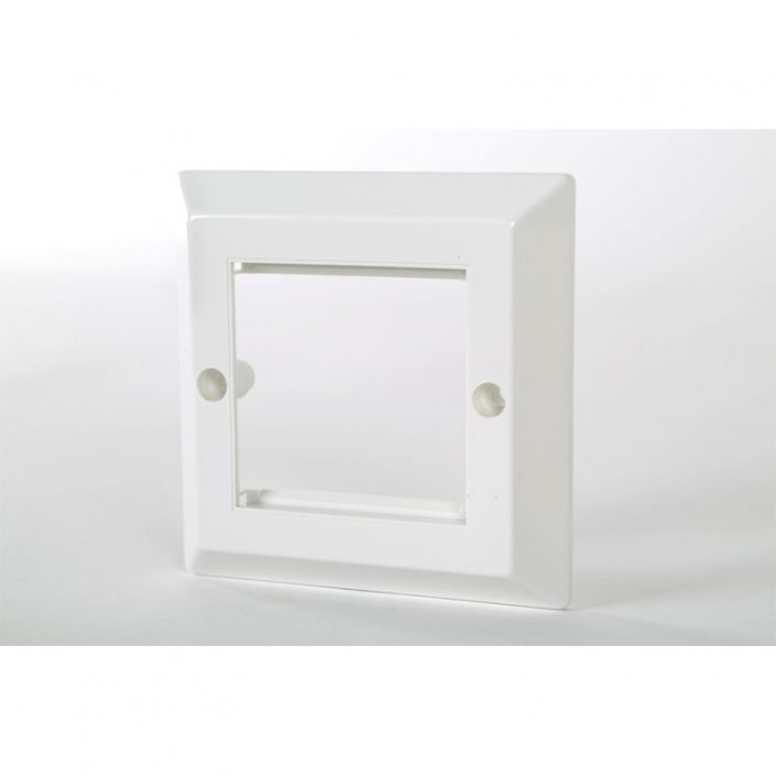 1 Gang Bevelled White Frame Accepts 2 Euro Modules