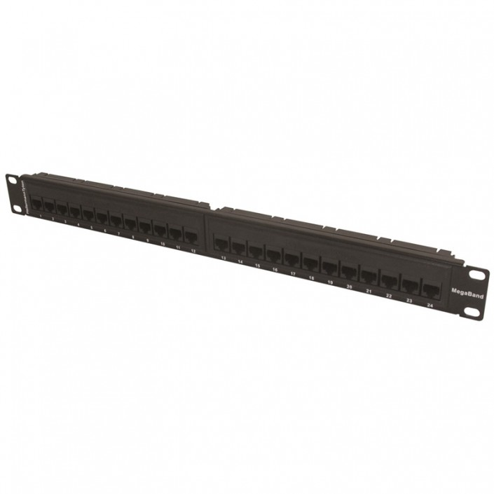 "1U 19"" 24 Port Megaband Patch Panel Cat5e"