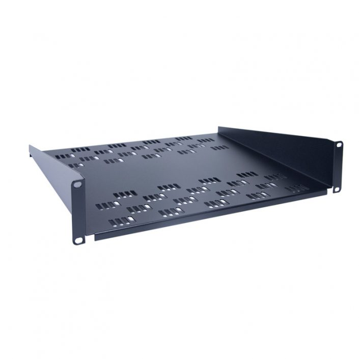 2U 400mm Deep Rack Mount Shelf Black