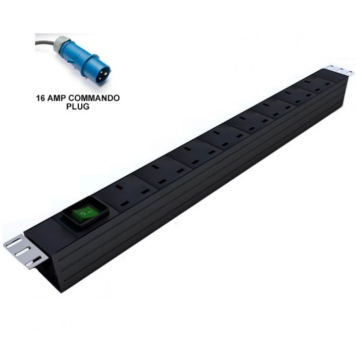 Prism Vertical PDU - UK To 16Amp Commando - 8 Way