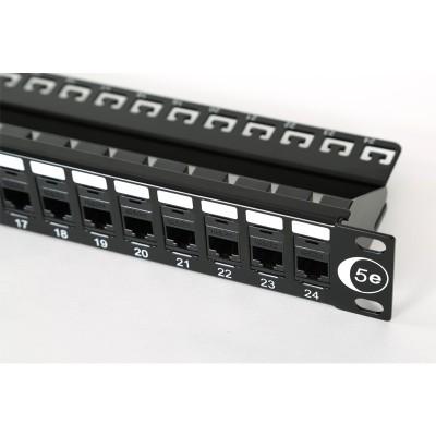 "1U 19"" 24 Port Patch Panel Cat5e Coupler Style"