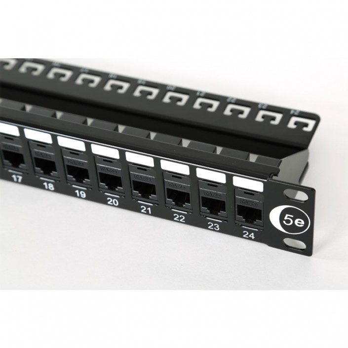 "1U 19"" 24 Port Patch Panel Cat5e Coupler Style"