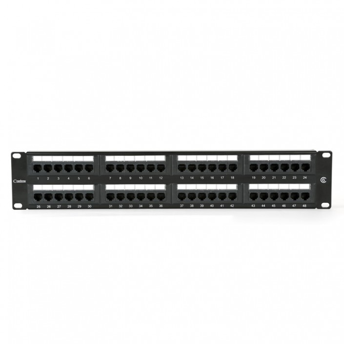 "2U 19"" 48 Port Patch Panel Cat6 incl' 2x RM and Label Set"