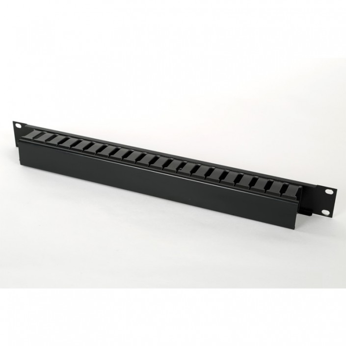 "1U 19"" Front Tidy Dump Panel With Lid In Black"