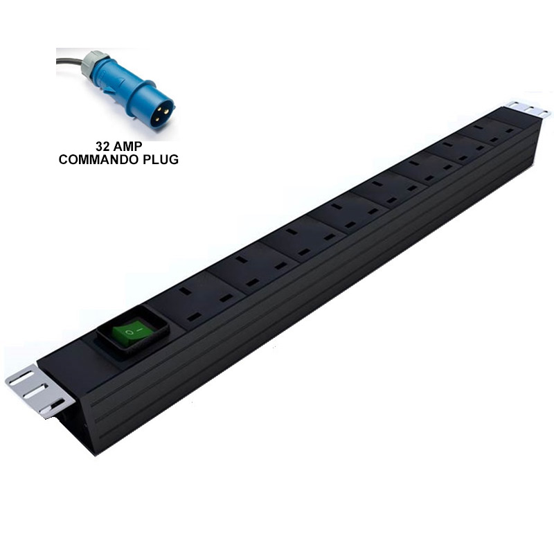 Prism Vertical PDU - UK To 32Amp Commando - 10 Way
