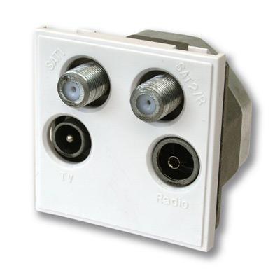 Quadplexed Outlet - 1xTV 2xSat 1xDAB-FM White