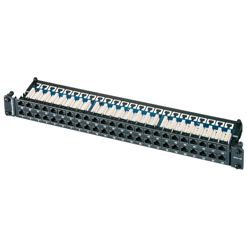 """1U 19"""" 48 Port EcoBand Patch Panel Cat6 - Right Angle"""