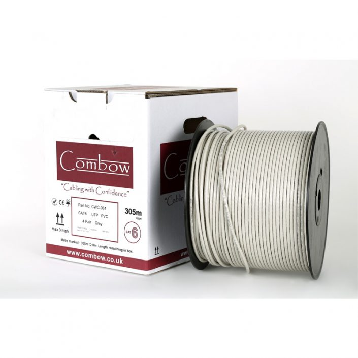 Cat6 Solid U.T.P. P.V.C. ( grey) 100m Reel