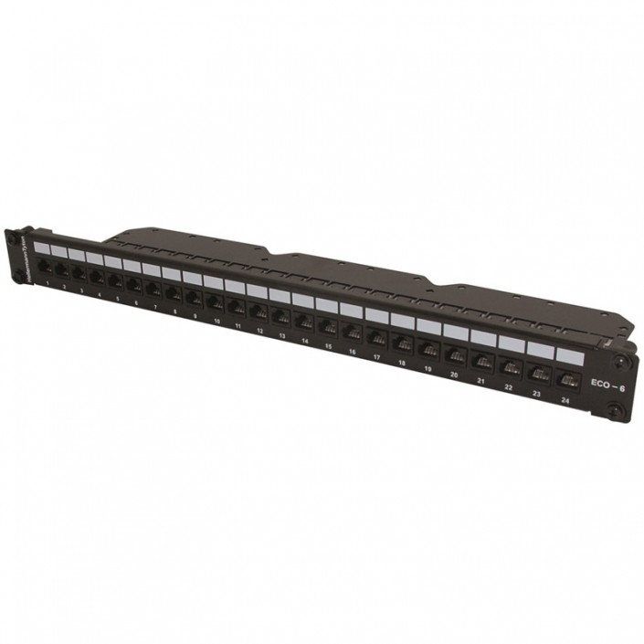 """1U 19"""" 24 Port EcoBand Patch Panel Cat6 - Right Angle"""
