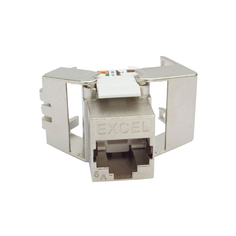 Excel Cat6a Low Profile Screened Toolless Keystone Jack-Openview