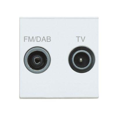 Diplexed Outlet 1xTV 1xFM - White