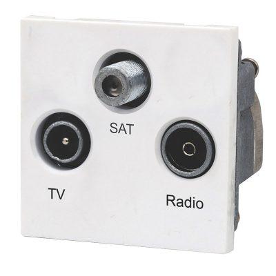 Triplexed Outlet 1xTV 1xSat 1xFM - White