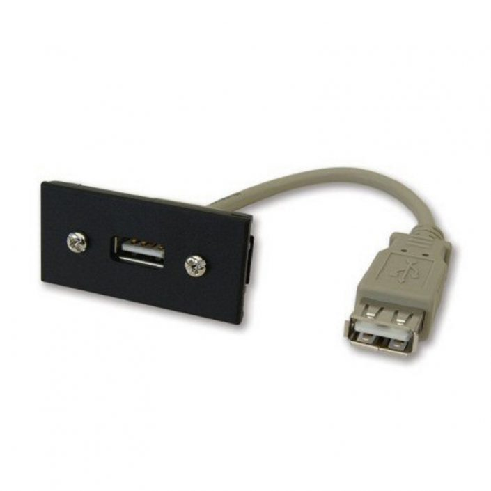 USB-A Module - Black Euro Size with 165mm Tail