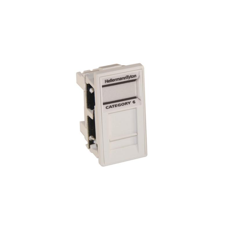 HellermannTyton Easy Clip GigaBand Cat6 Shielded Euro Module White EC08IDCNGBSLD-WH