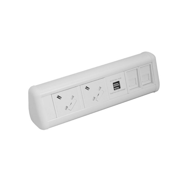 MAXI Desktop Unit 2x UK Sockets 2x Cat6 Couplers 1x Dual USB Charger in White