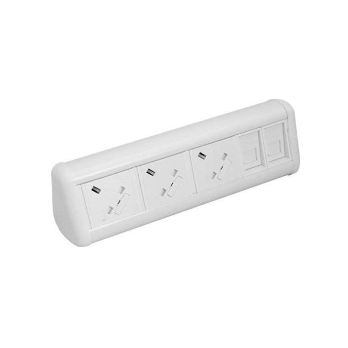 MAXI Desktop Unit 3x UK Sockets 2x Cat6 Couplers in White