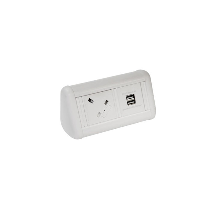 MINI Desktop Unit 1 x UK Socket and 1 x Dual USB Charger in White