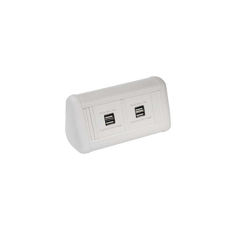 MINI Desktop Unit with 2 x Dual USB Charger in White