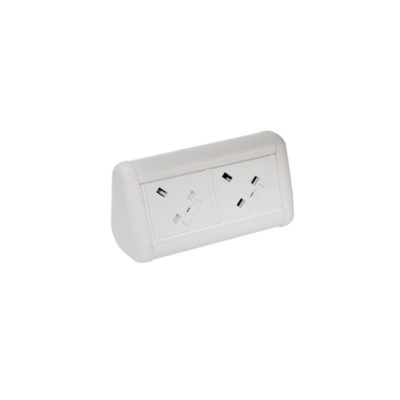 MINI Desktop Unit with 2 x UK Sockets in White