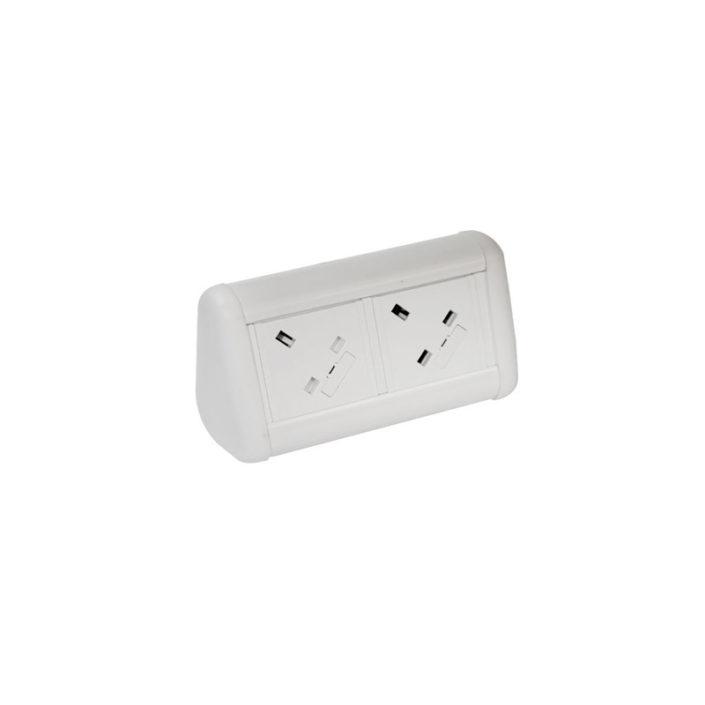 MINI Desktop Unit with 2 x UK Sockets in White